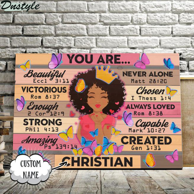 Black girl you are beautiful victorious custom name canvas 1
