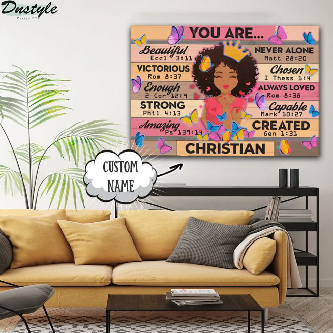 Black girl you are beautiful victorious custom name canvas