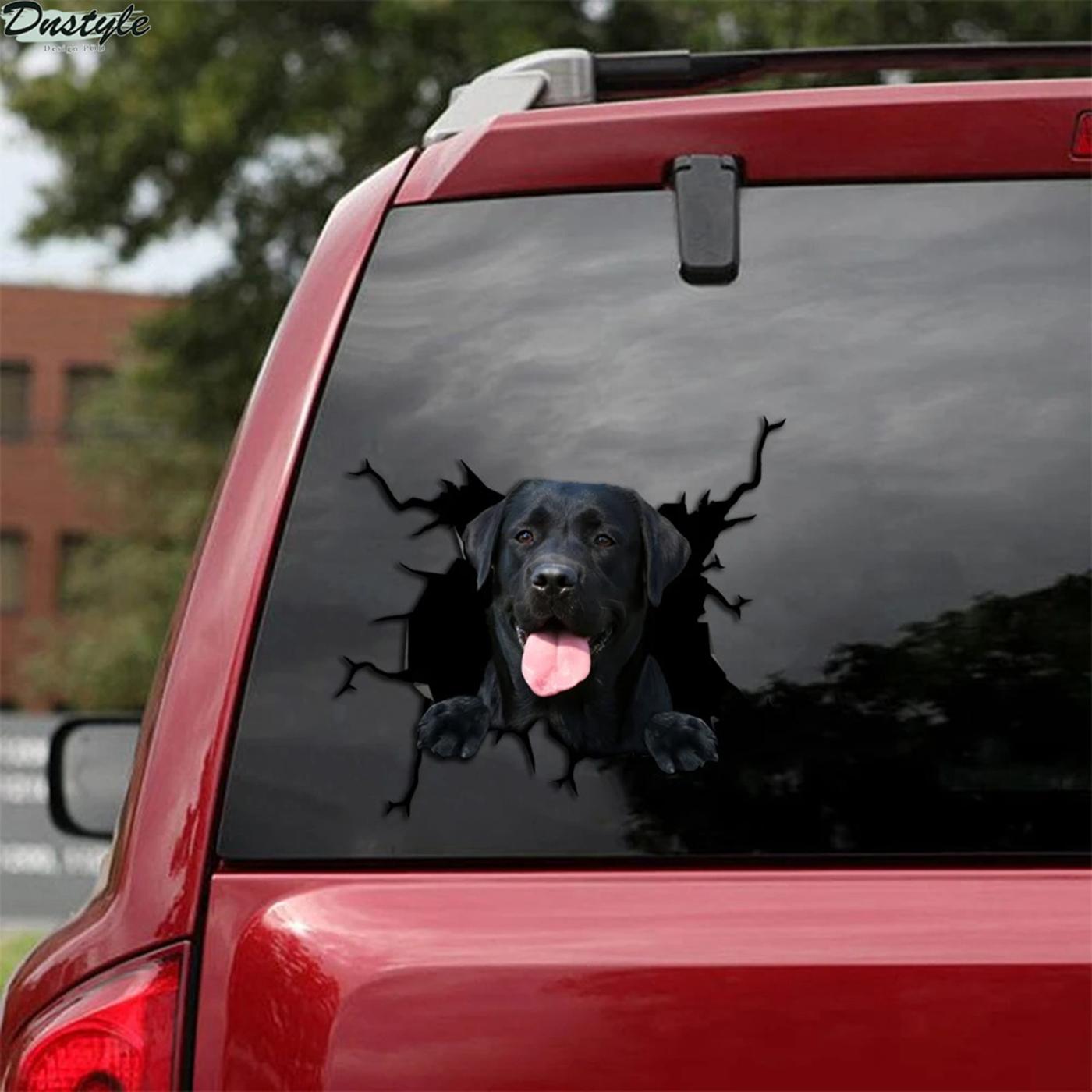 Black labrador crack car decal sticker 2