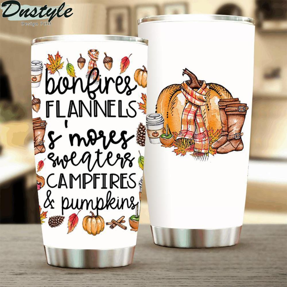 Bonfires Flannels S'mores Sweaters Campfires And Pumpkins Tumbler 1
