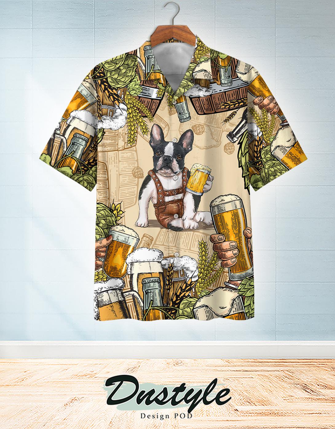 Boston terrier and beer hawaiian shirt