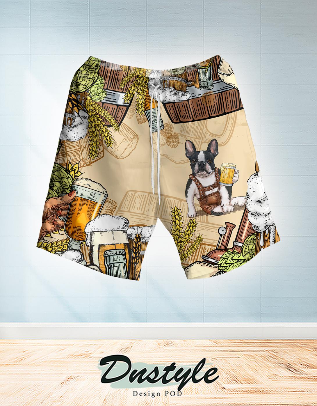 Boston terrier and beer hawaiian short