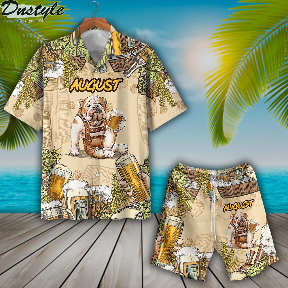 Bulldog beer august hawaiian shirt and short