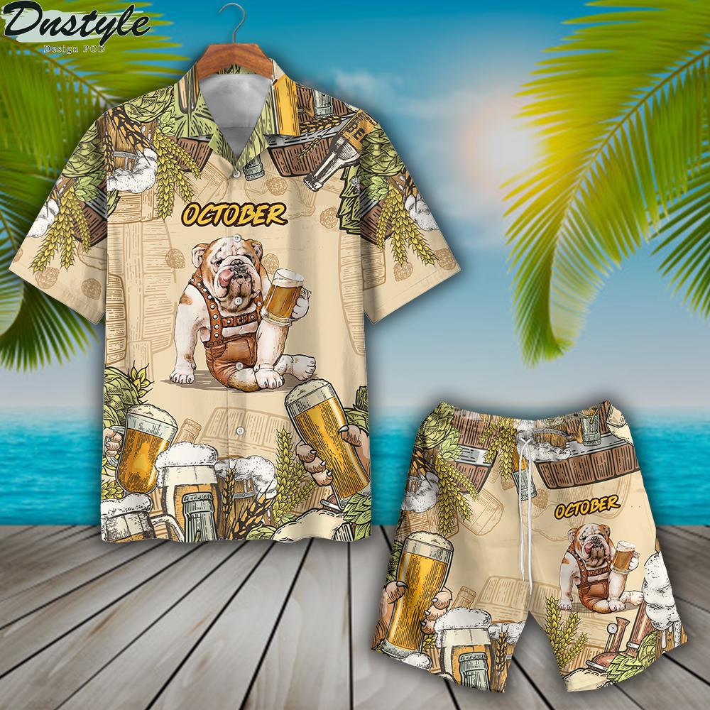 Bulldog beer october hawaiian shirt and short