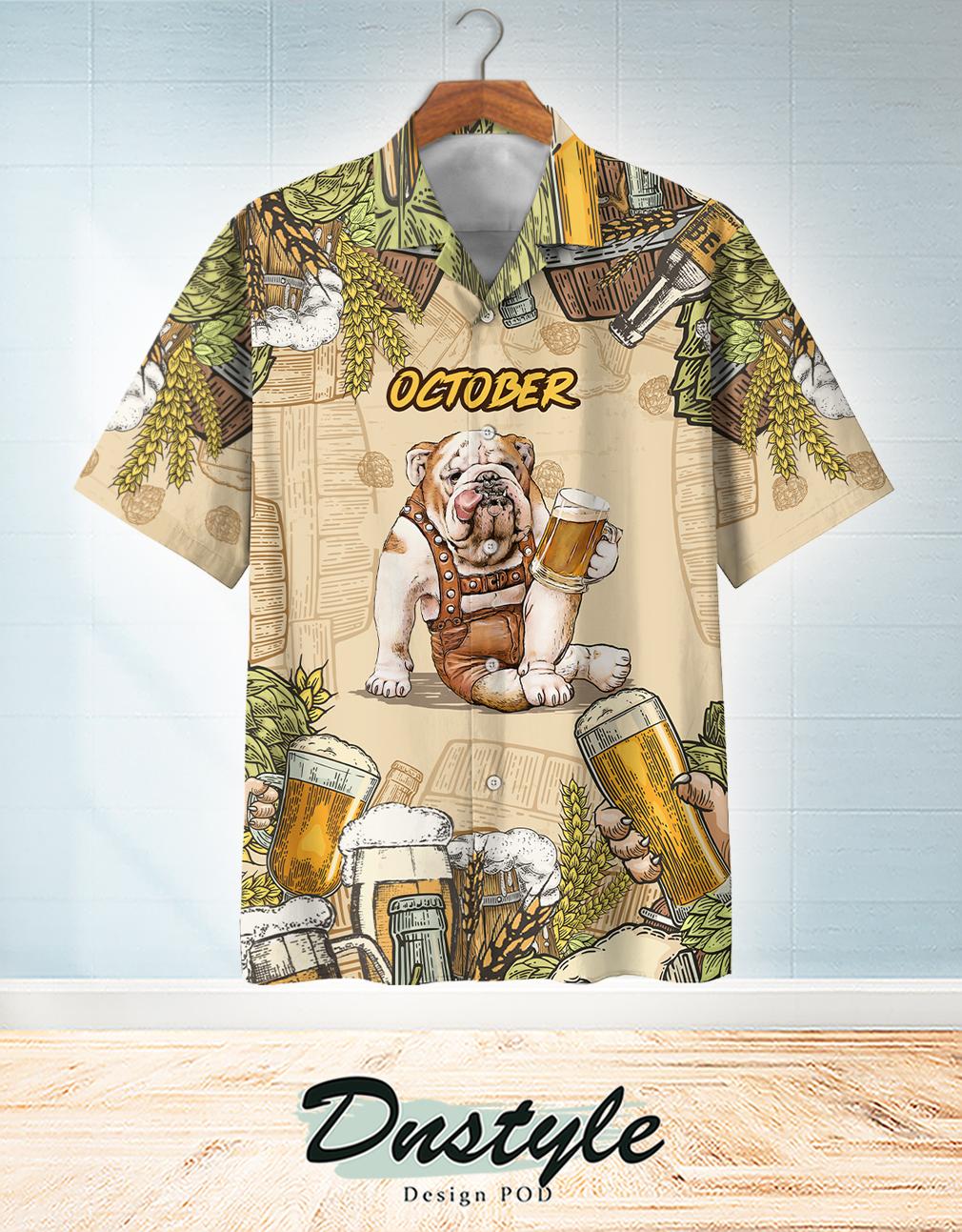Bulldog beer october hawaiian shirt
