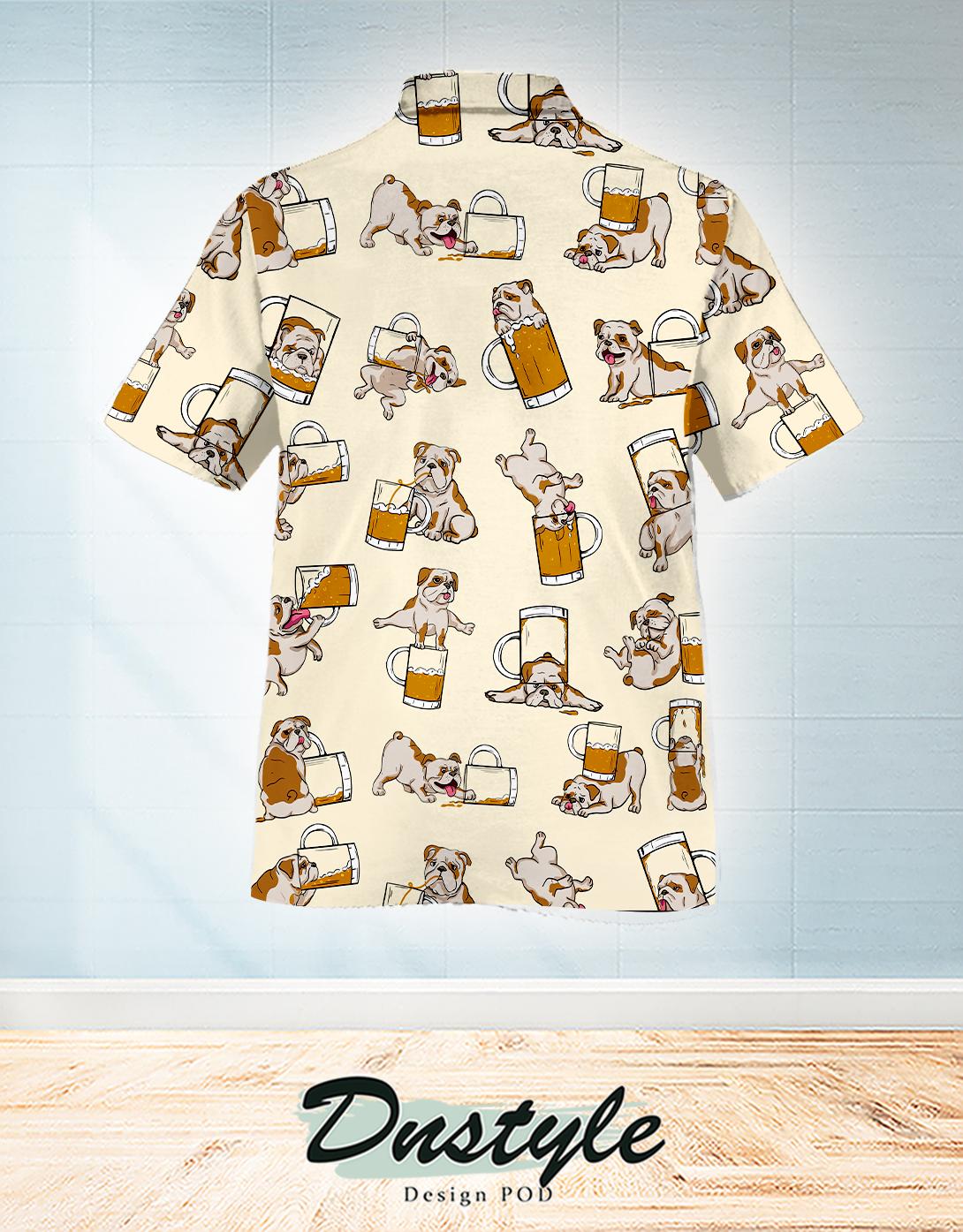 Bulldog drink beer in many ways hawaiian shirt 1