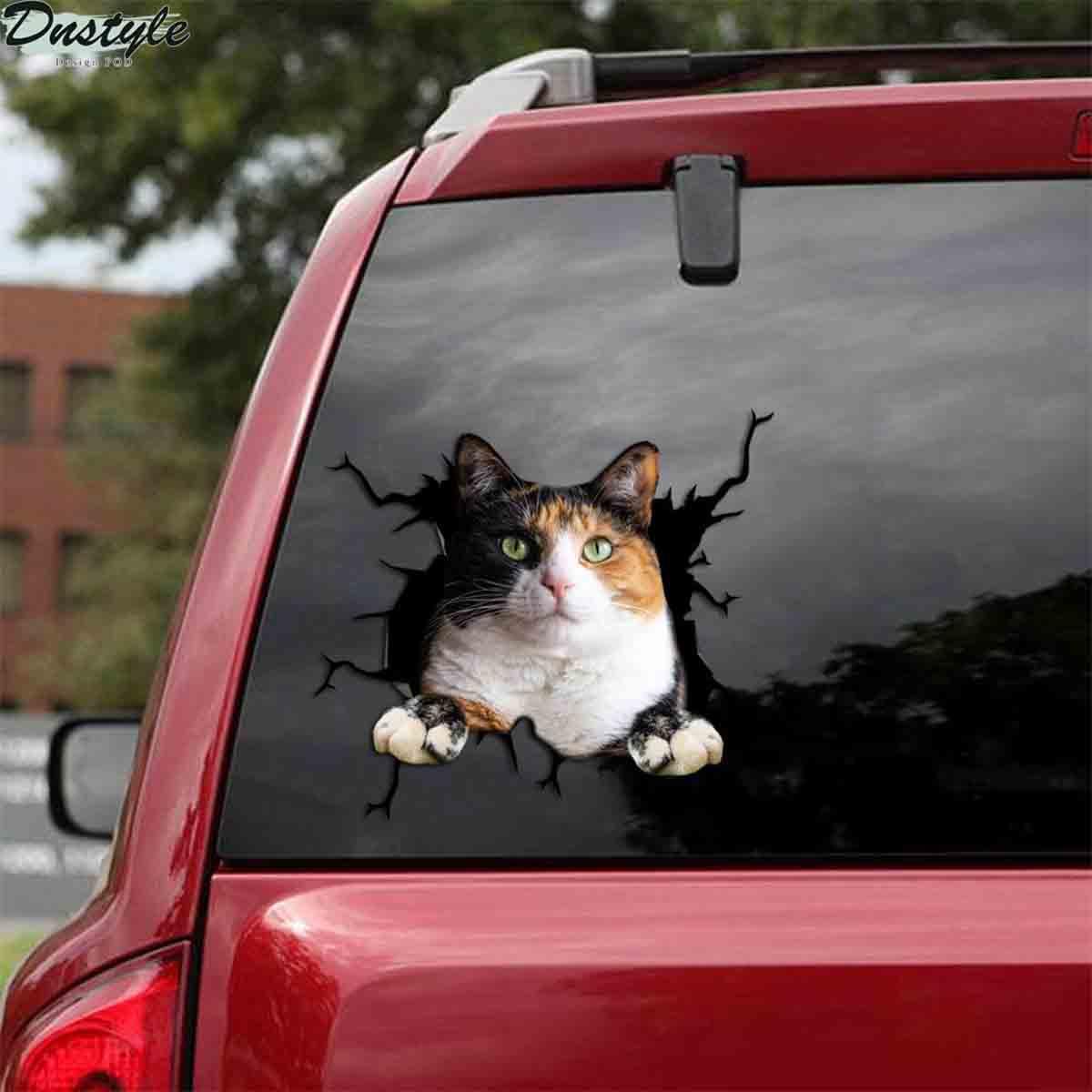Calico cat crack car decal sticker 1