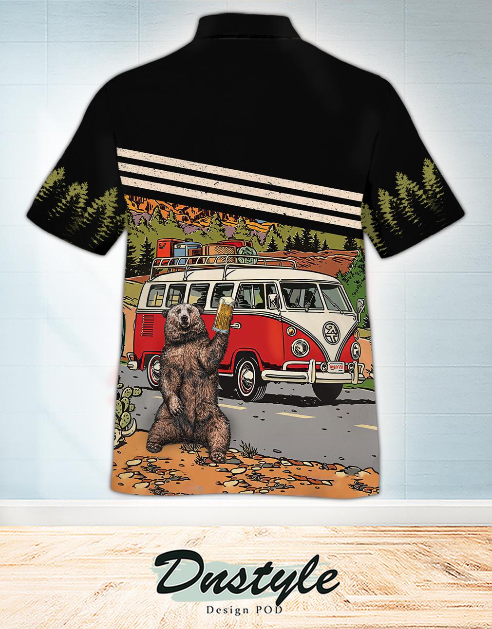 Campervan bear drink beer let's go camping hawaiian shirt 1