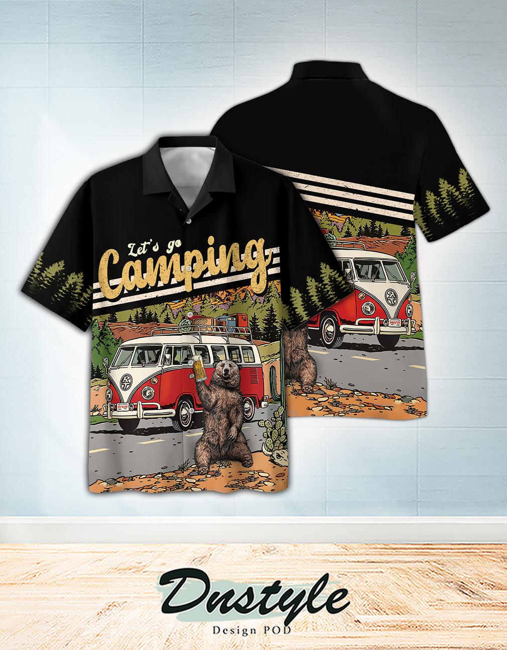Campervan bear drink beer let's go camping hawaiian shirt