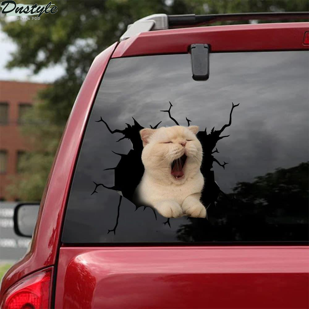Cat yawning crack car decal sticker