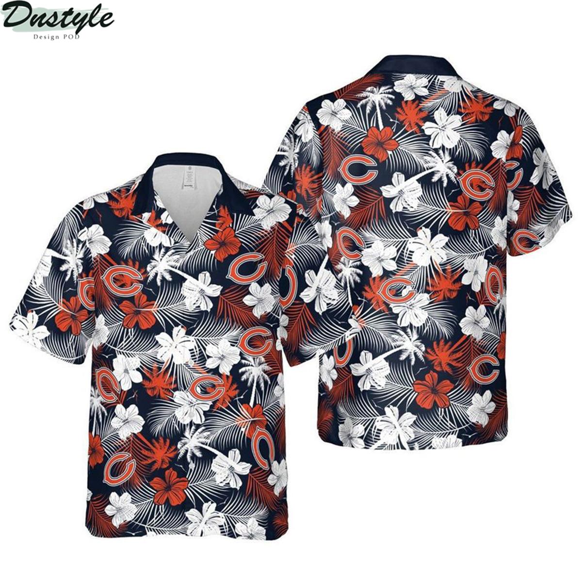 Chicago bears chicago floral nfl football hawaiian shirt 2