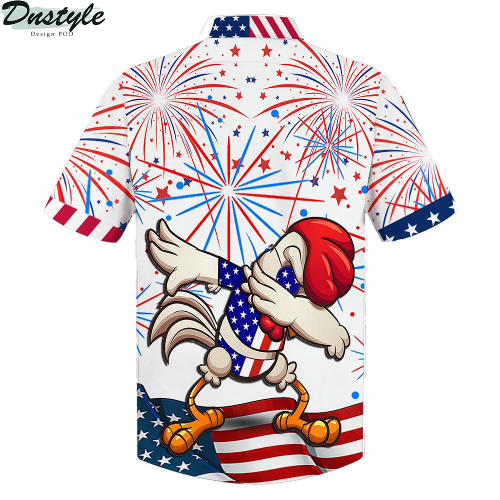 Chicken dabbing american flag firework shirt 2