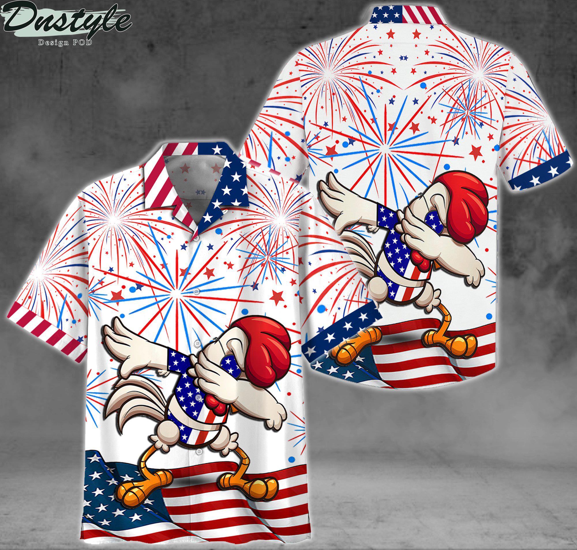 Chicken dabbing american flag firework shirt