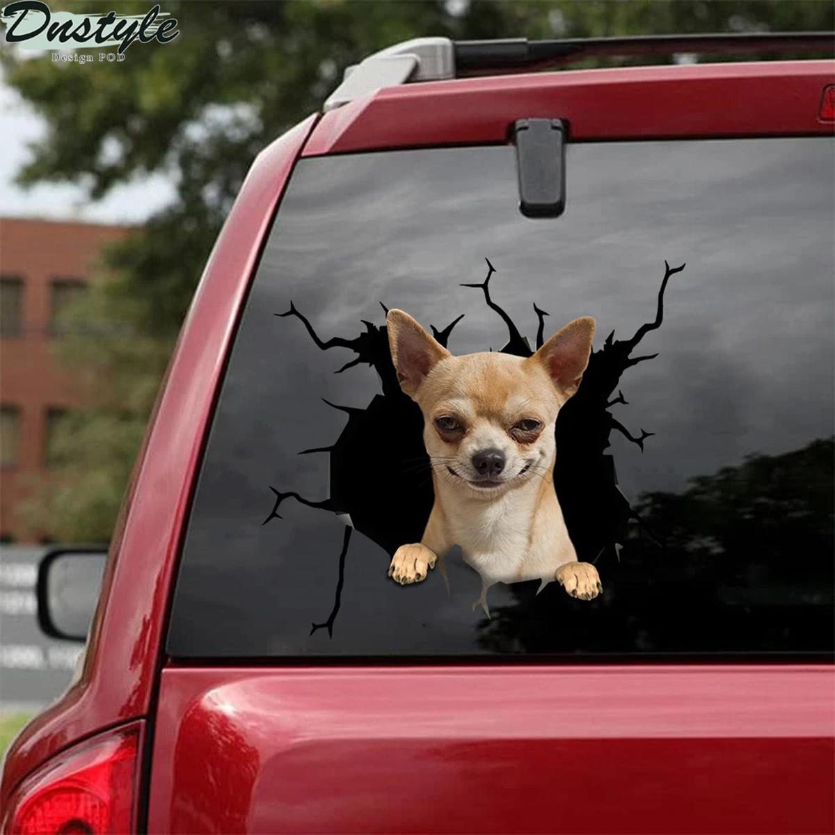 Chihuahua crack car decal sticker 1