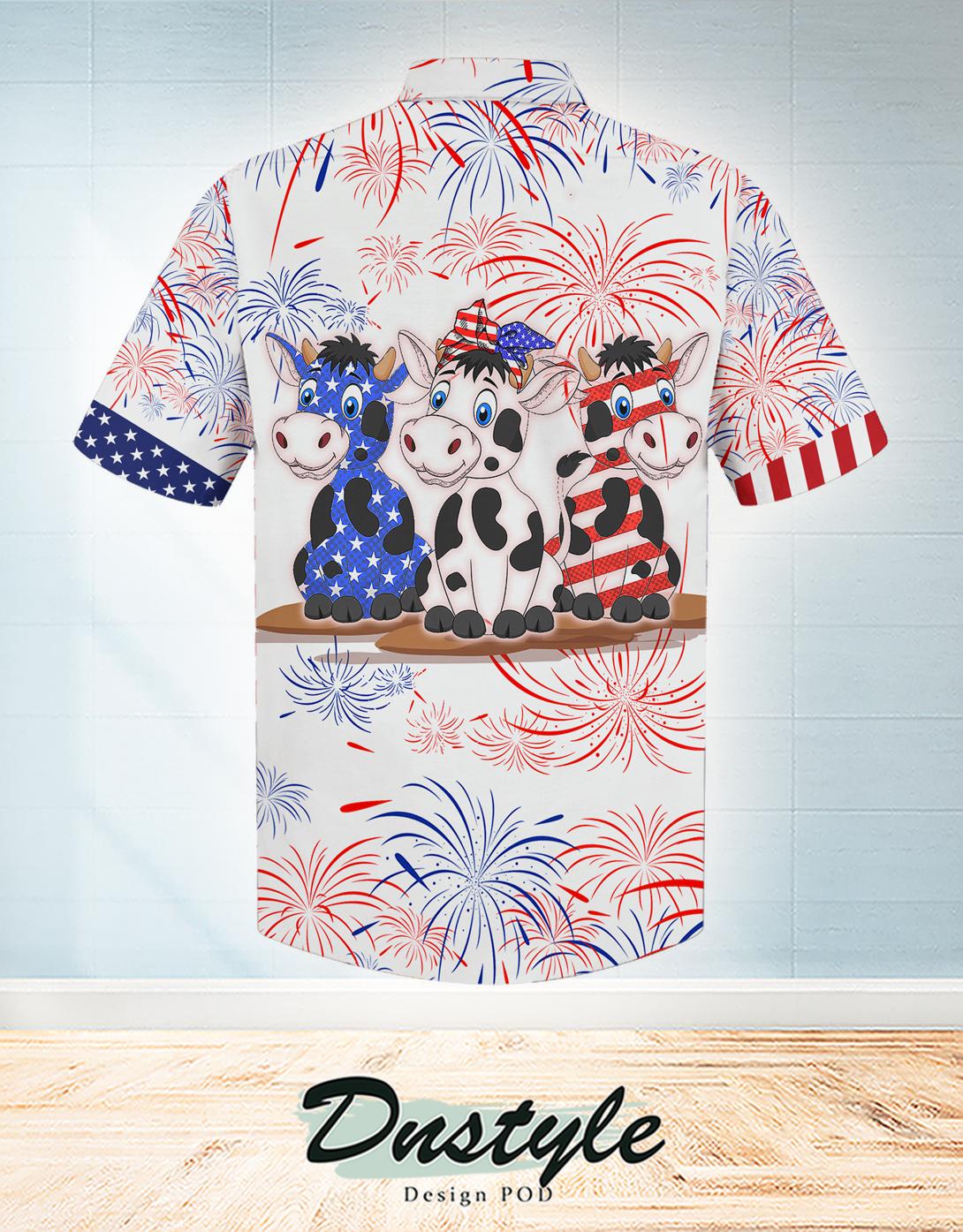 Cow american flag firework hawaiian shirt 1