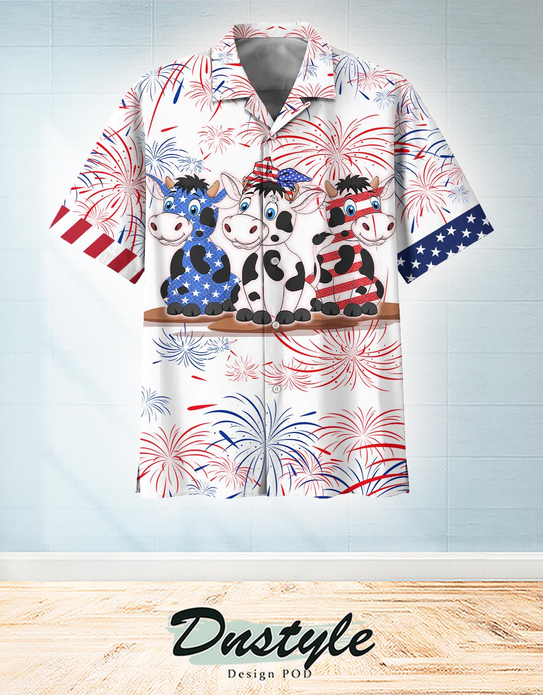 Cow american flag firework hawaiian shirt