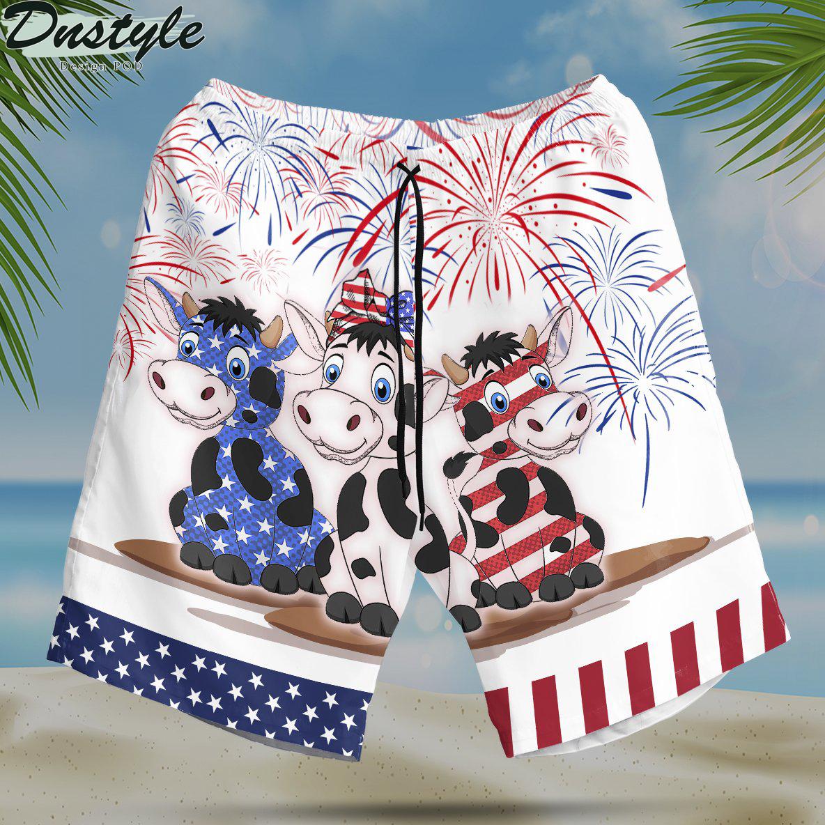 Cow american flag firework hawaiian short