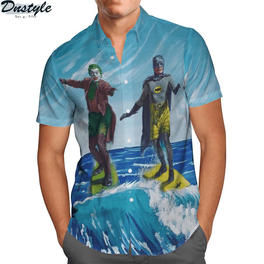 DC Batman and joker surfing hawaiian shirt 1