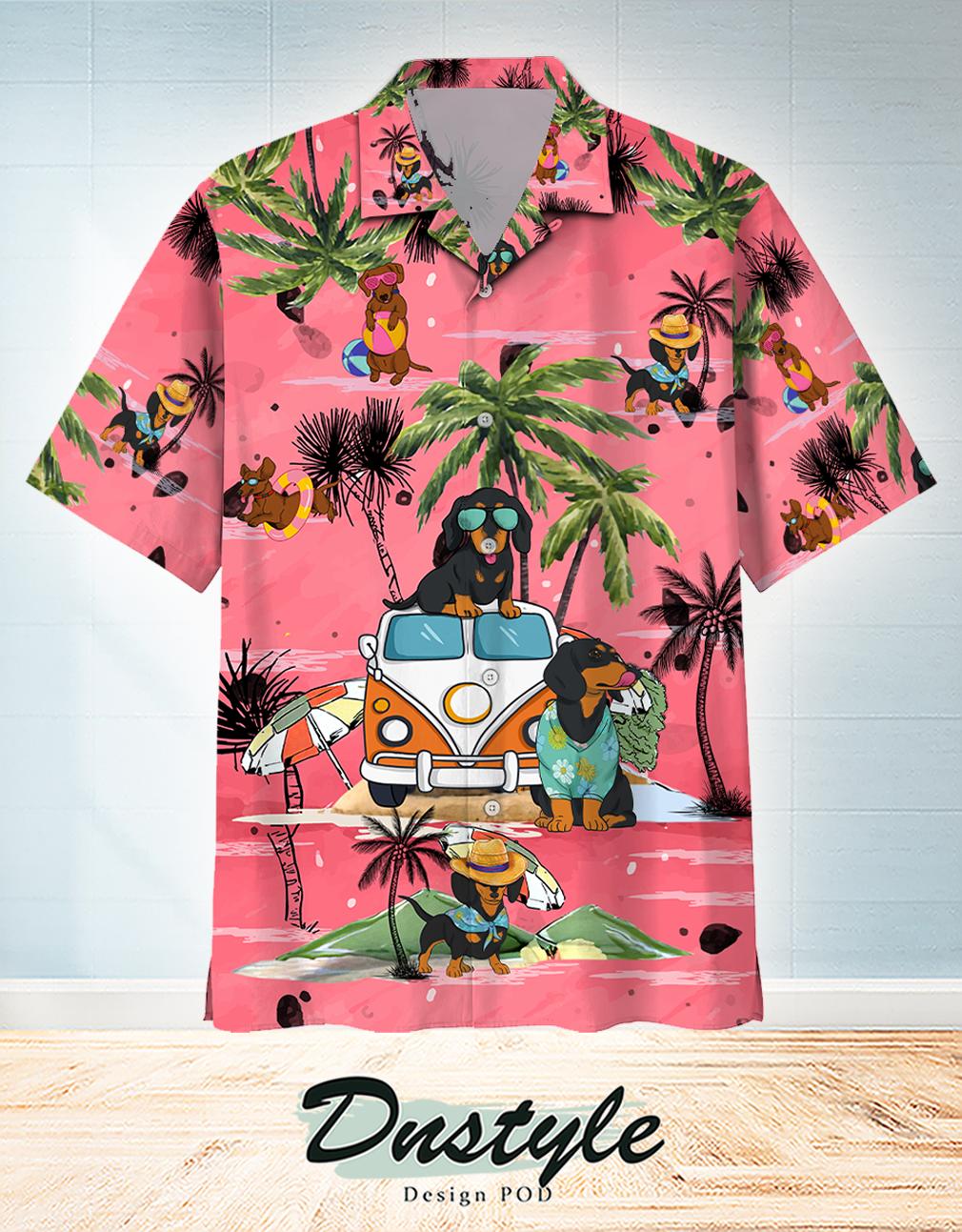 Dachshund Summer Beach Hawaiian Shirt