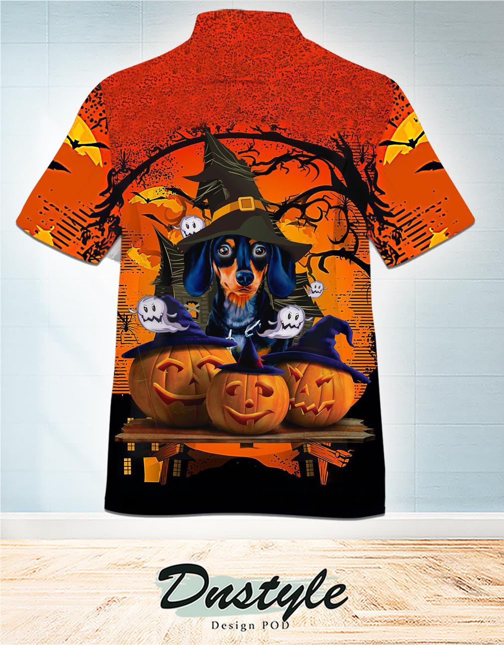 Dachshund and pumkin happy halloween hawaiian shirt 1
