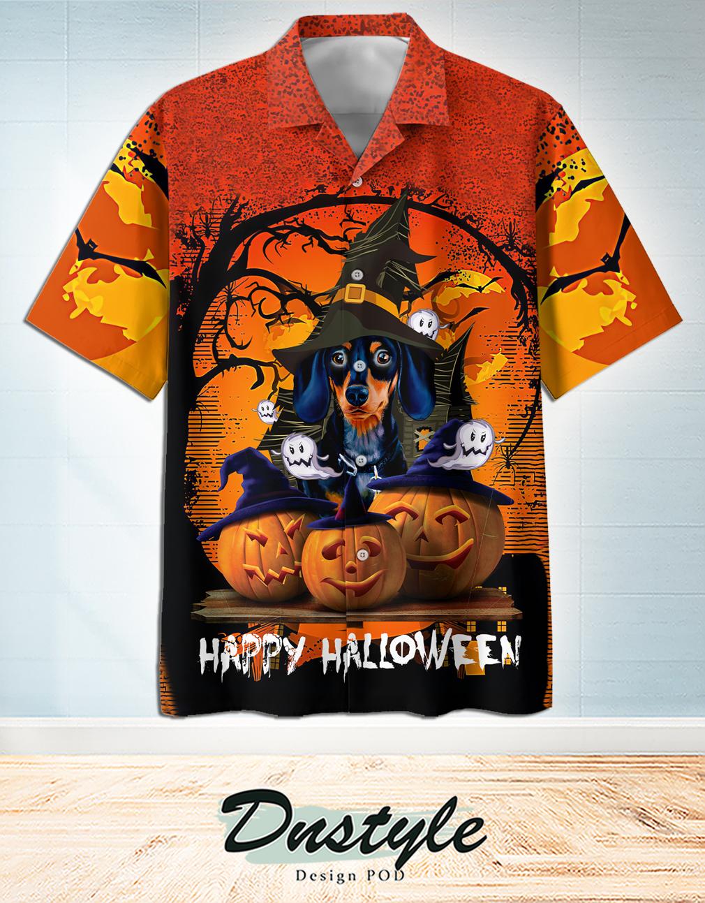 Dachshund and pumkin happy halloween hawaiian shirt