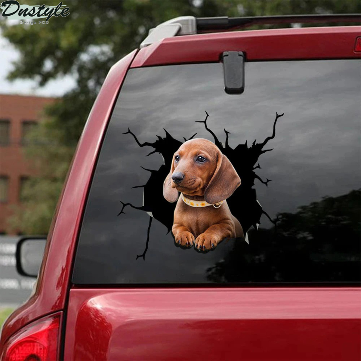 Dachshund crack car decal sticker 1