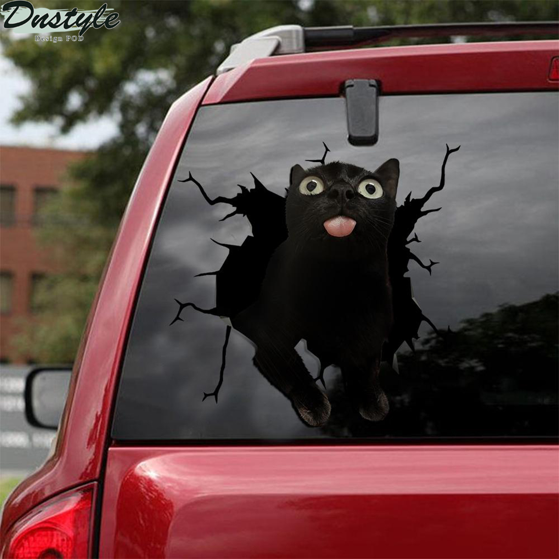 Down syndrome black cat crack car decal sticker 1