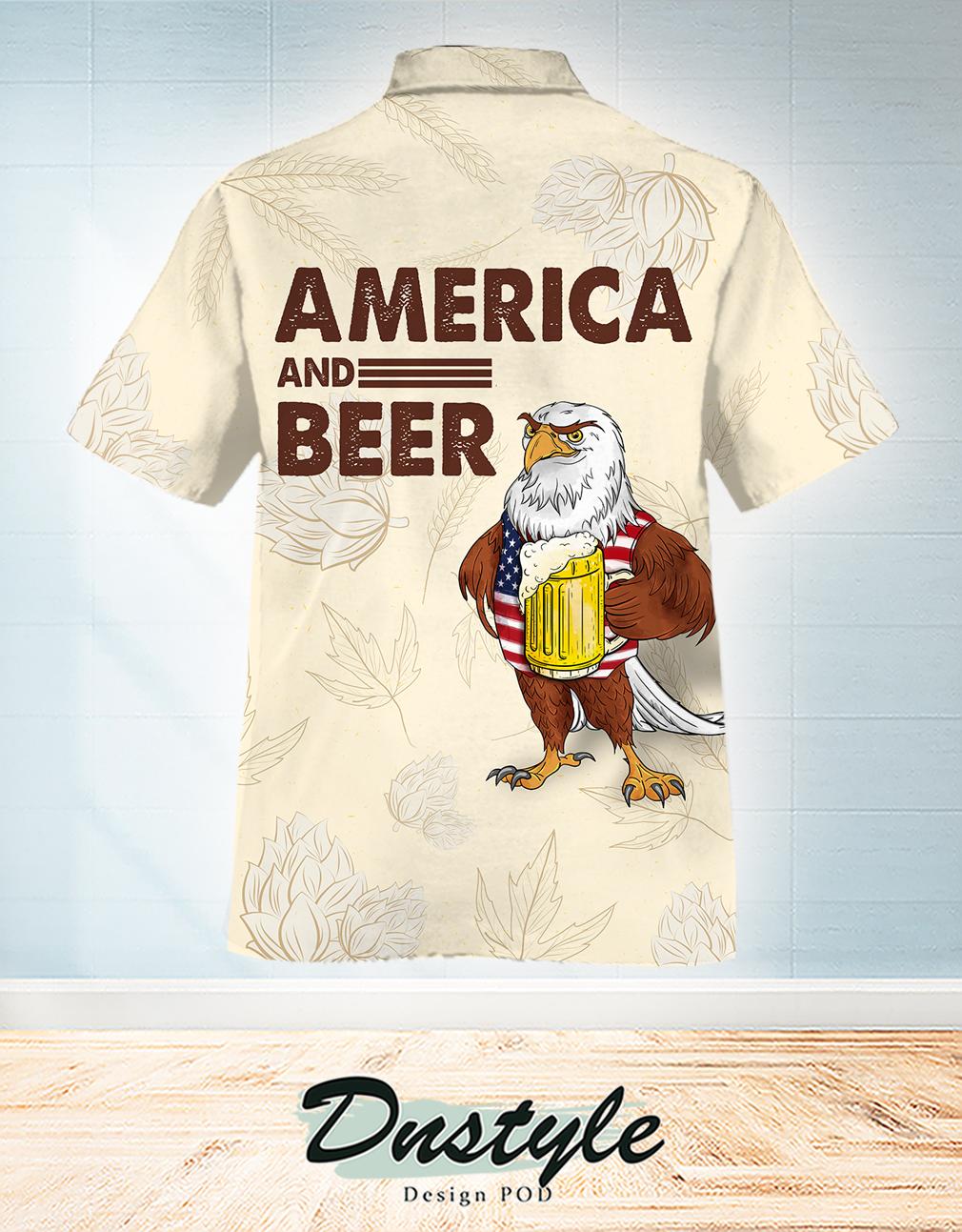 Eagle america and beer hawaiian shirt 1