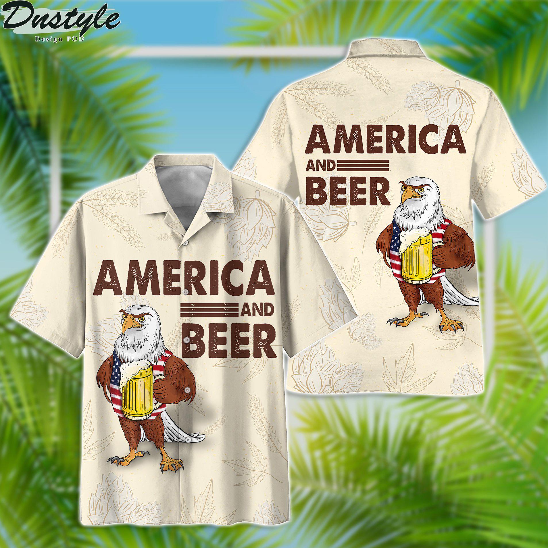 Eagle america and beer hawaiian shirt