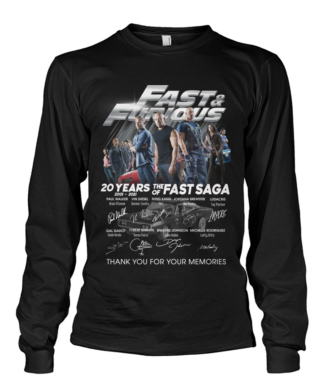 Fast and furious 20 years of the fast saga signature long sleeve