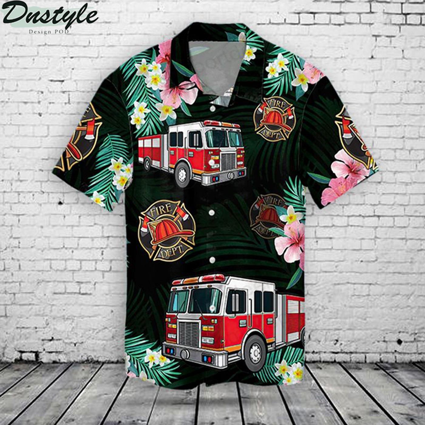 Fire truck hawaiian shirt 2