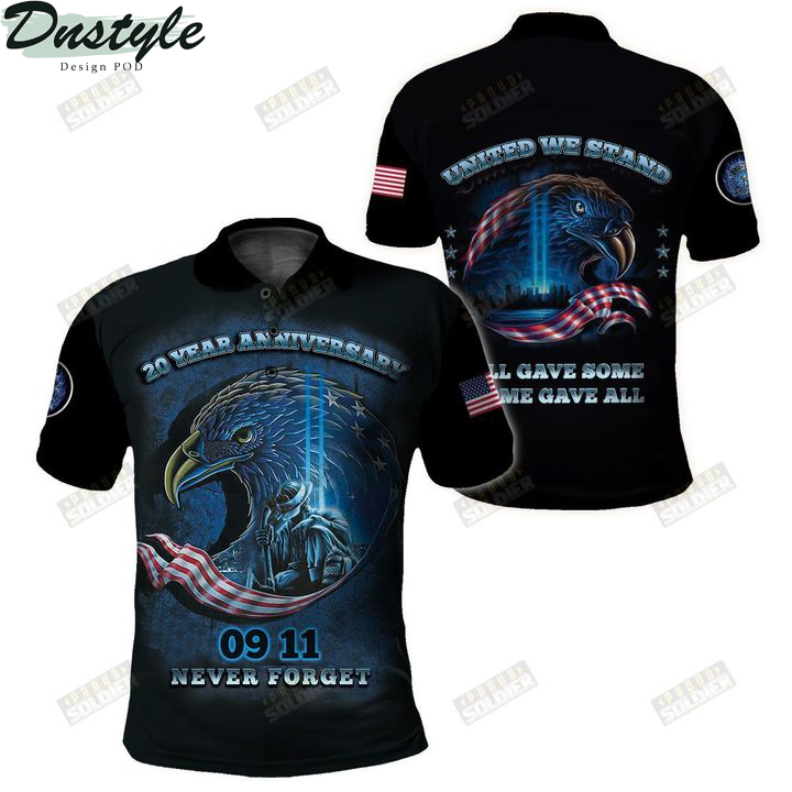 Firefighter 20 year anniversary 09 11 never forget united we stand 3d all over printed polo