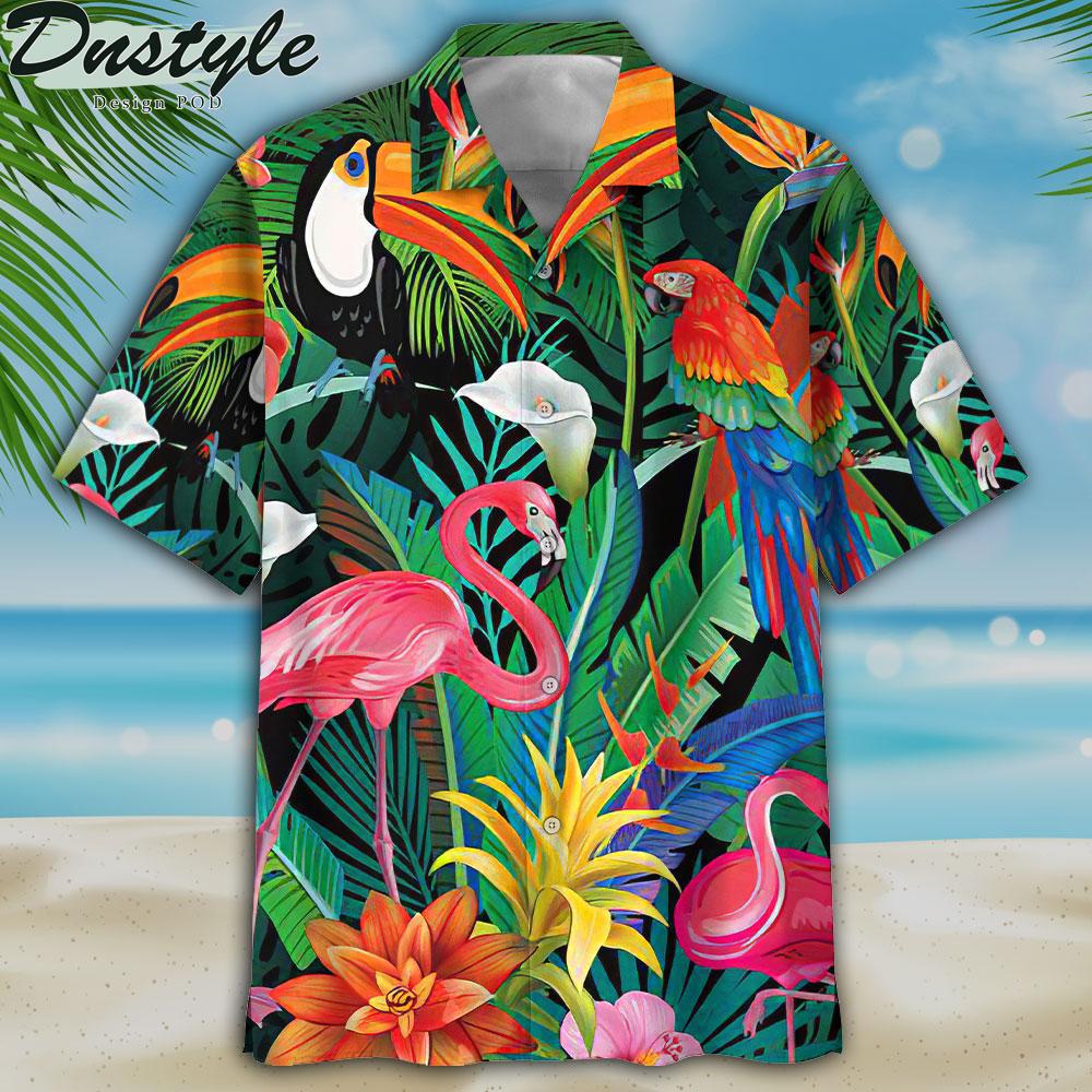 Flamingo and parrots hawaiian shirt 1