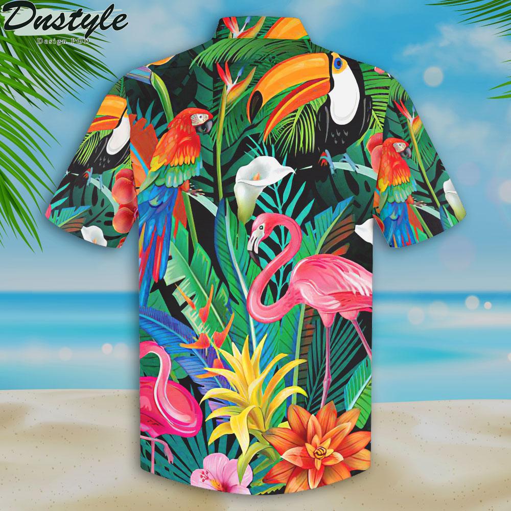 Flamingo and parrots hawaiian shirt 2