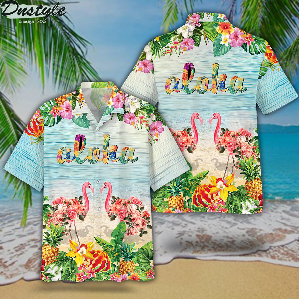 Flamingo couple floral aloha hawaiian shirt