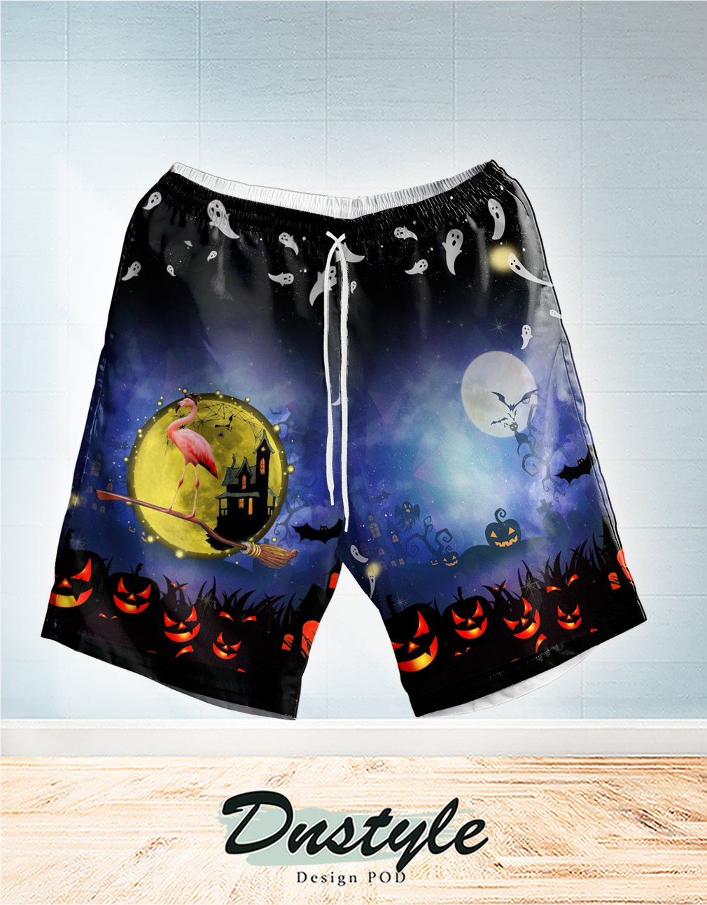 Flamingo halloween buckle up buttercup you just flipped my witch switch hawaiian short