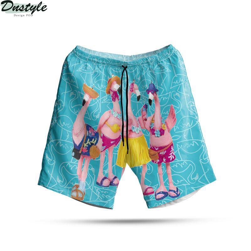 Flamingo let's party hawaiian short