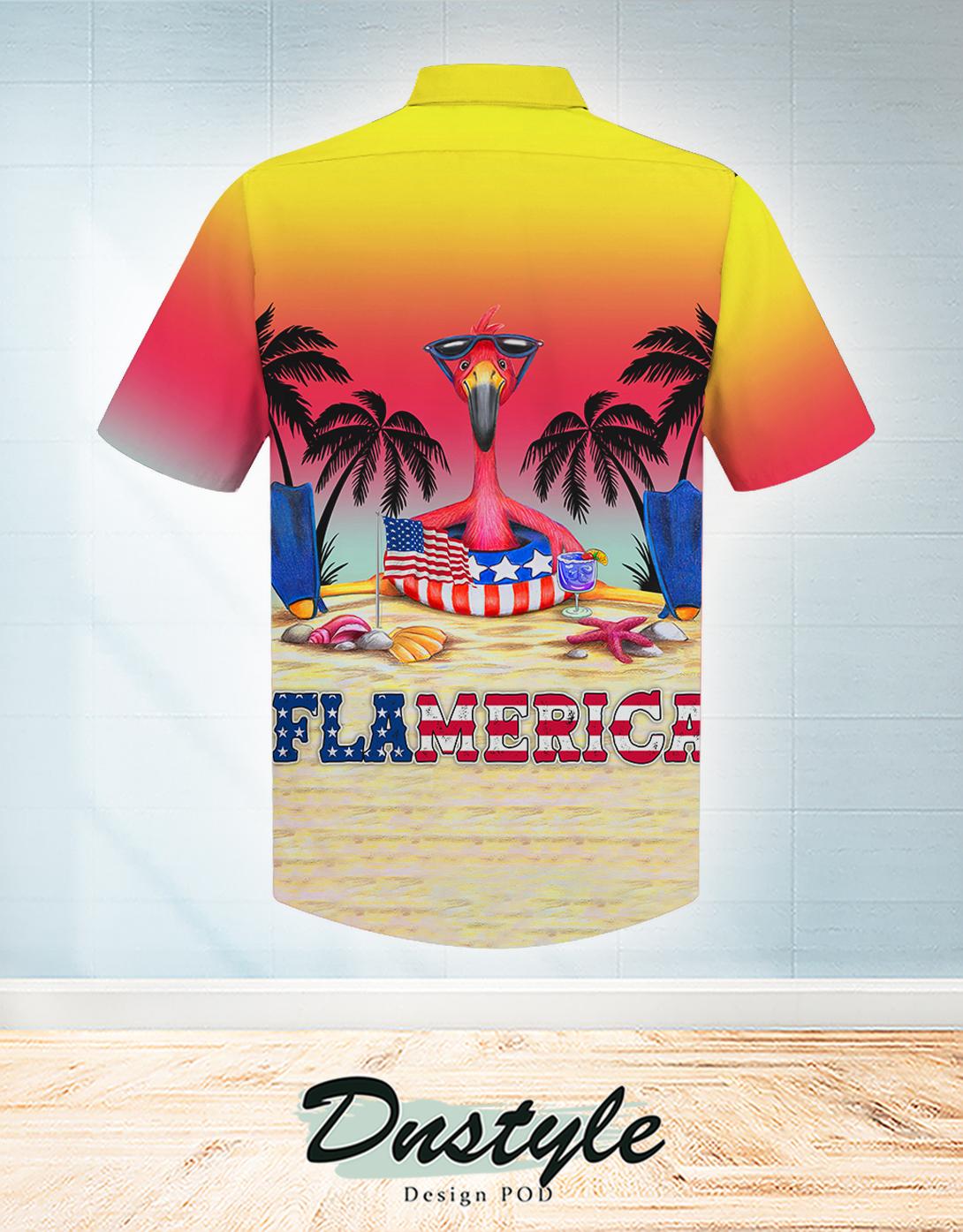 Flamingo summer flamerica hawaiian shirt 1