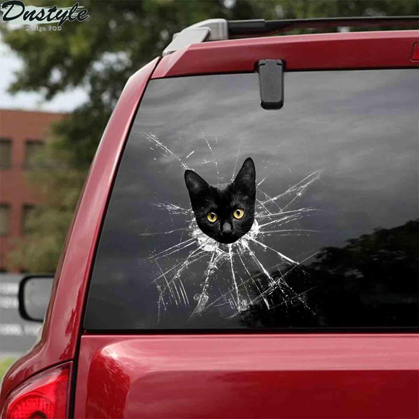 Funny black cats crack car sticker lover 2