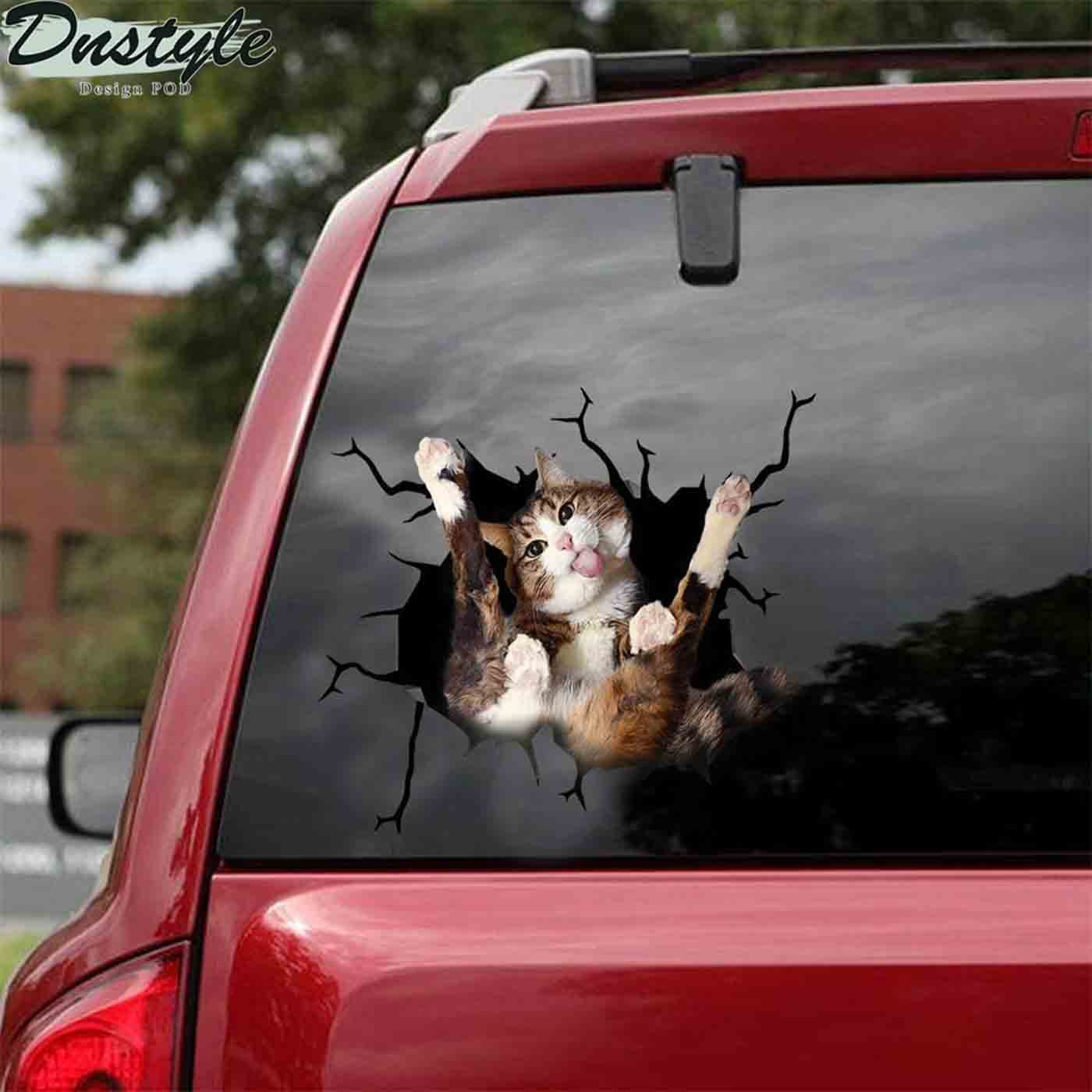 Funny cat lick my ball crack car decal sticker cats lover 2