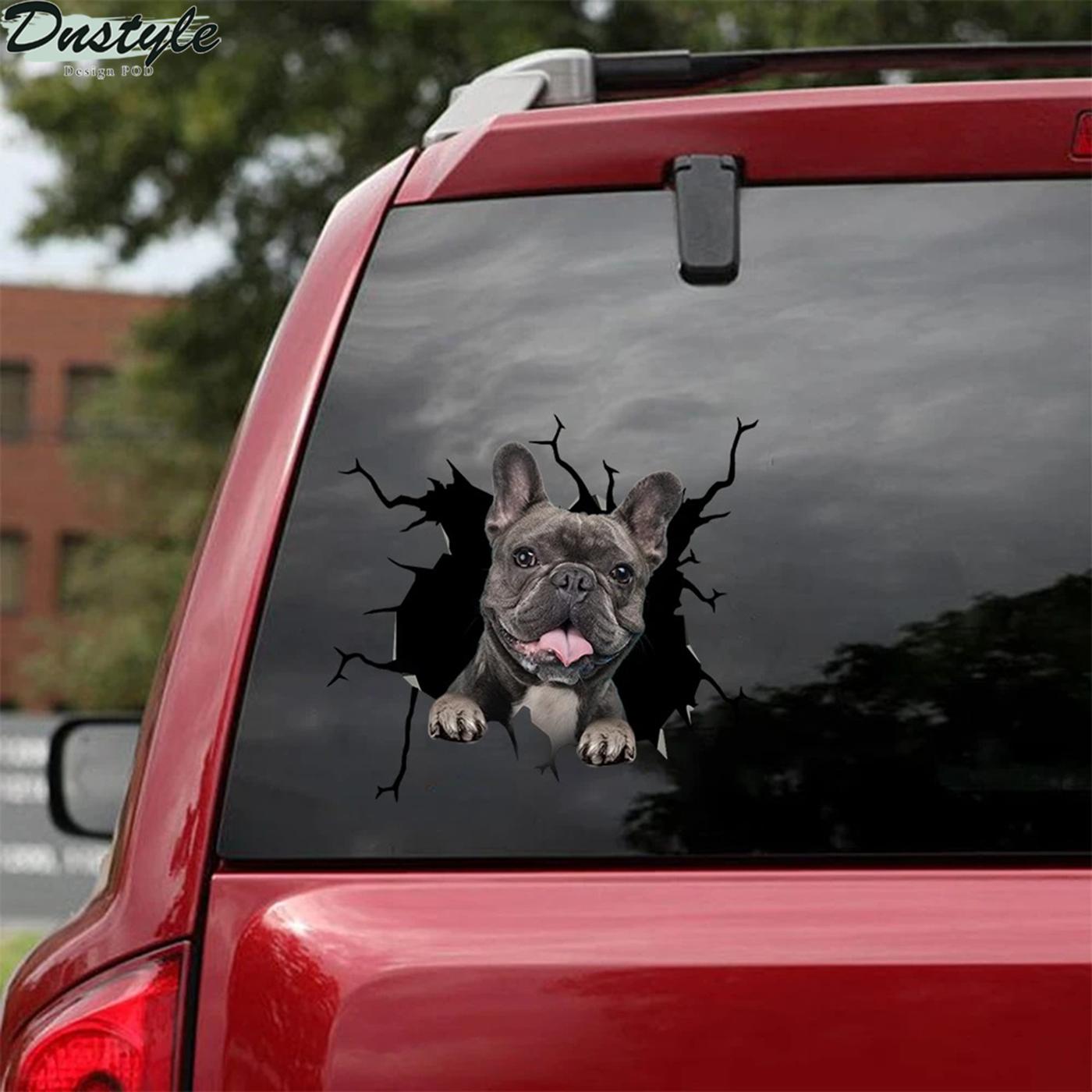Funny french bulldog sticker car decal 2