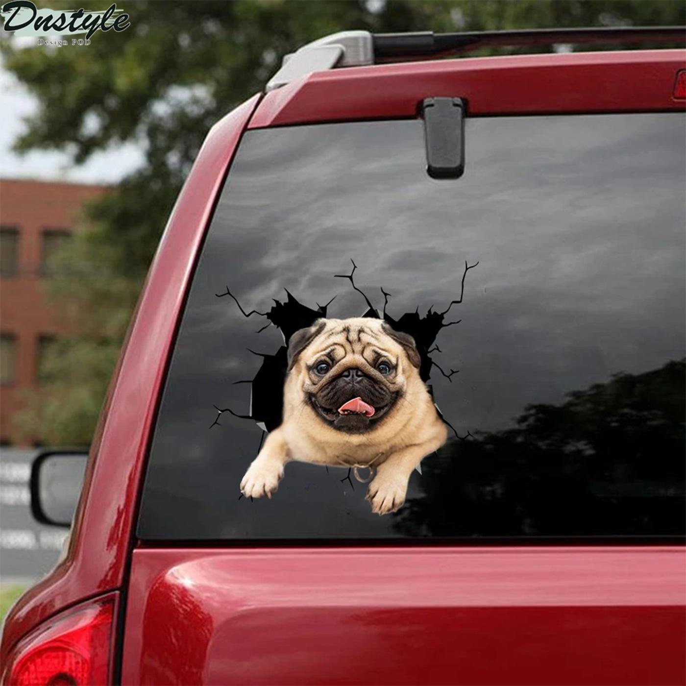 Funny pug sticker car decal 2