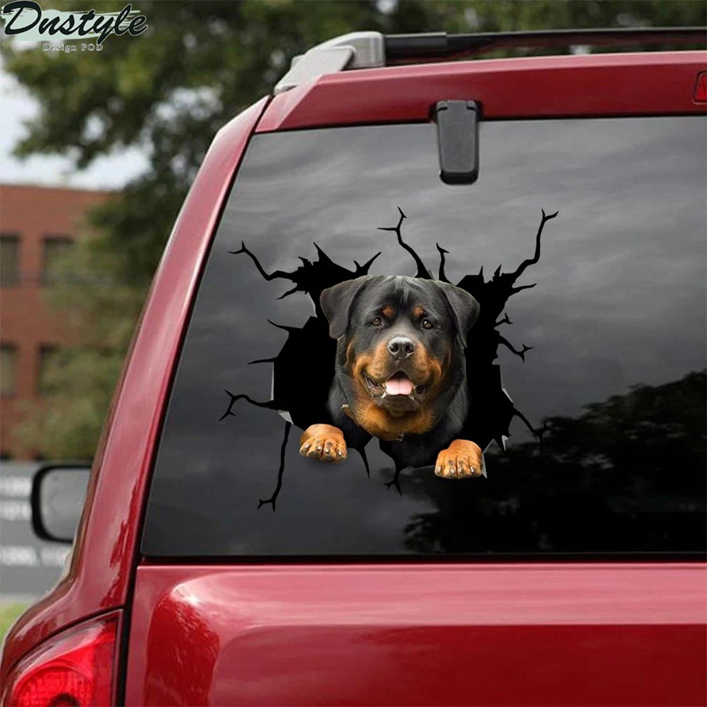 Funny rottweiler crack car decal sticker 2
