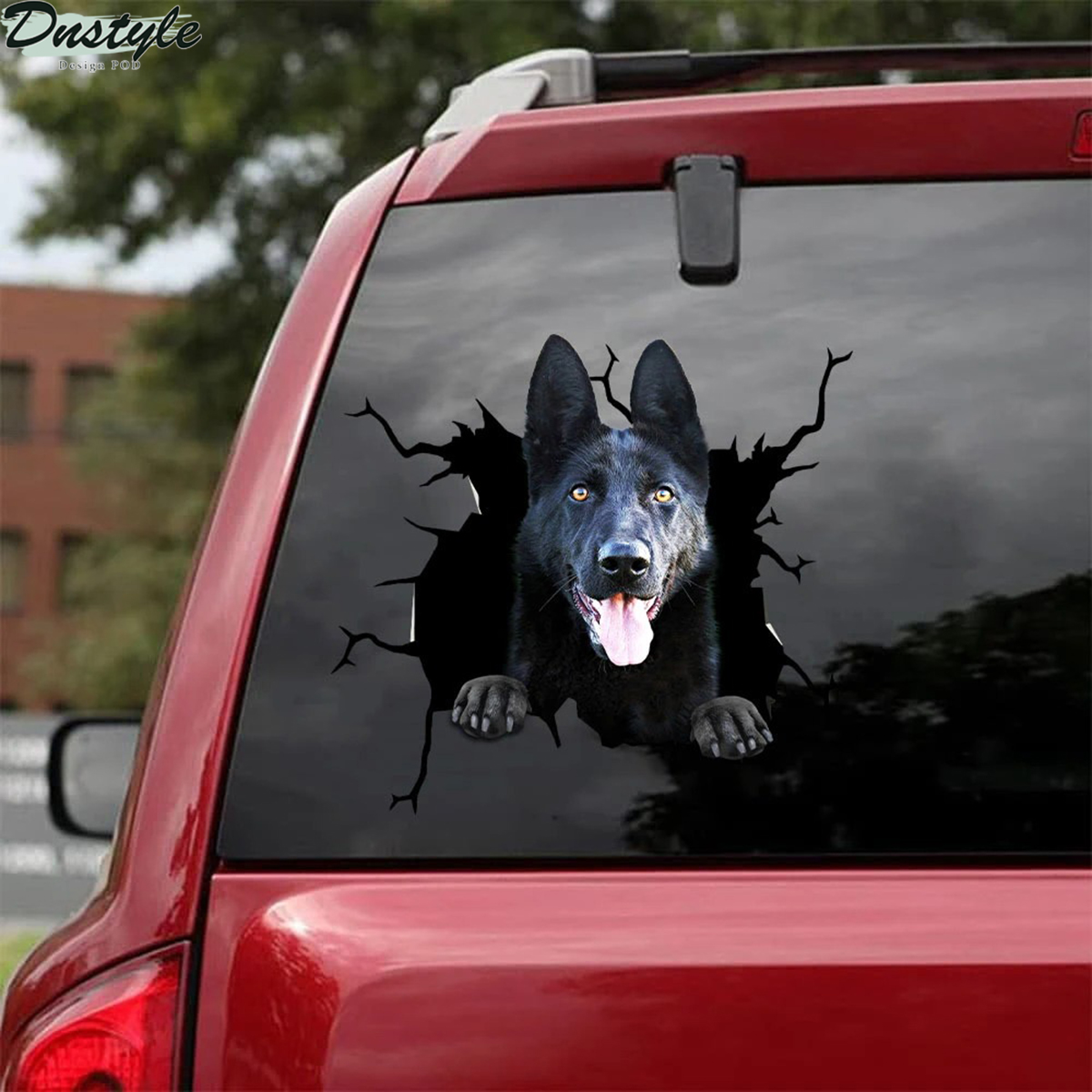 German shepherd crack car decal sticker 1