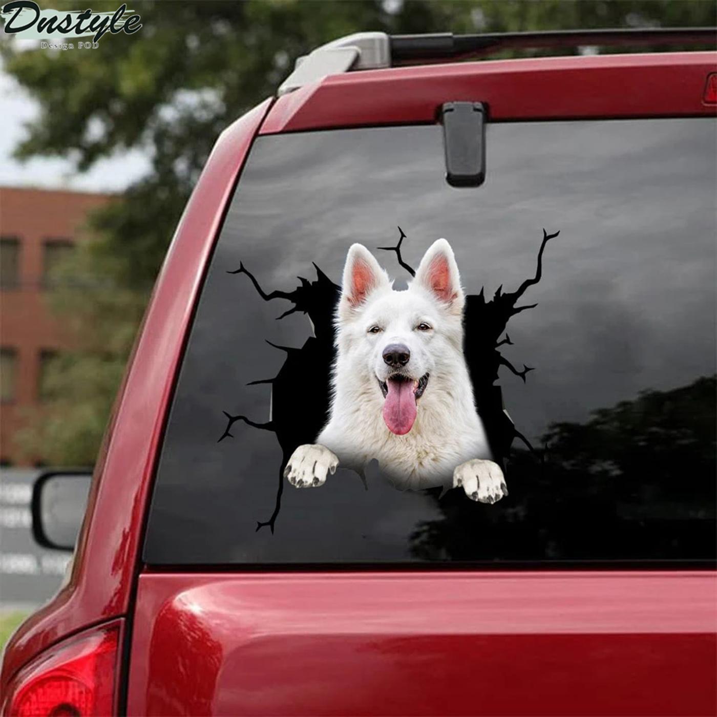 German shepherd white crack car decal sticker 2