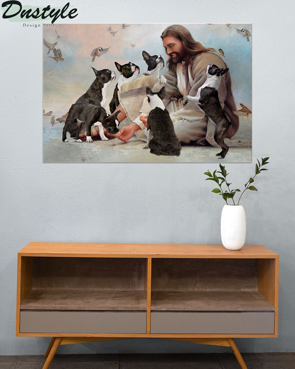 God surrounded by Boston Terrier angels poster 1