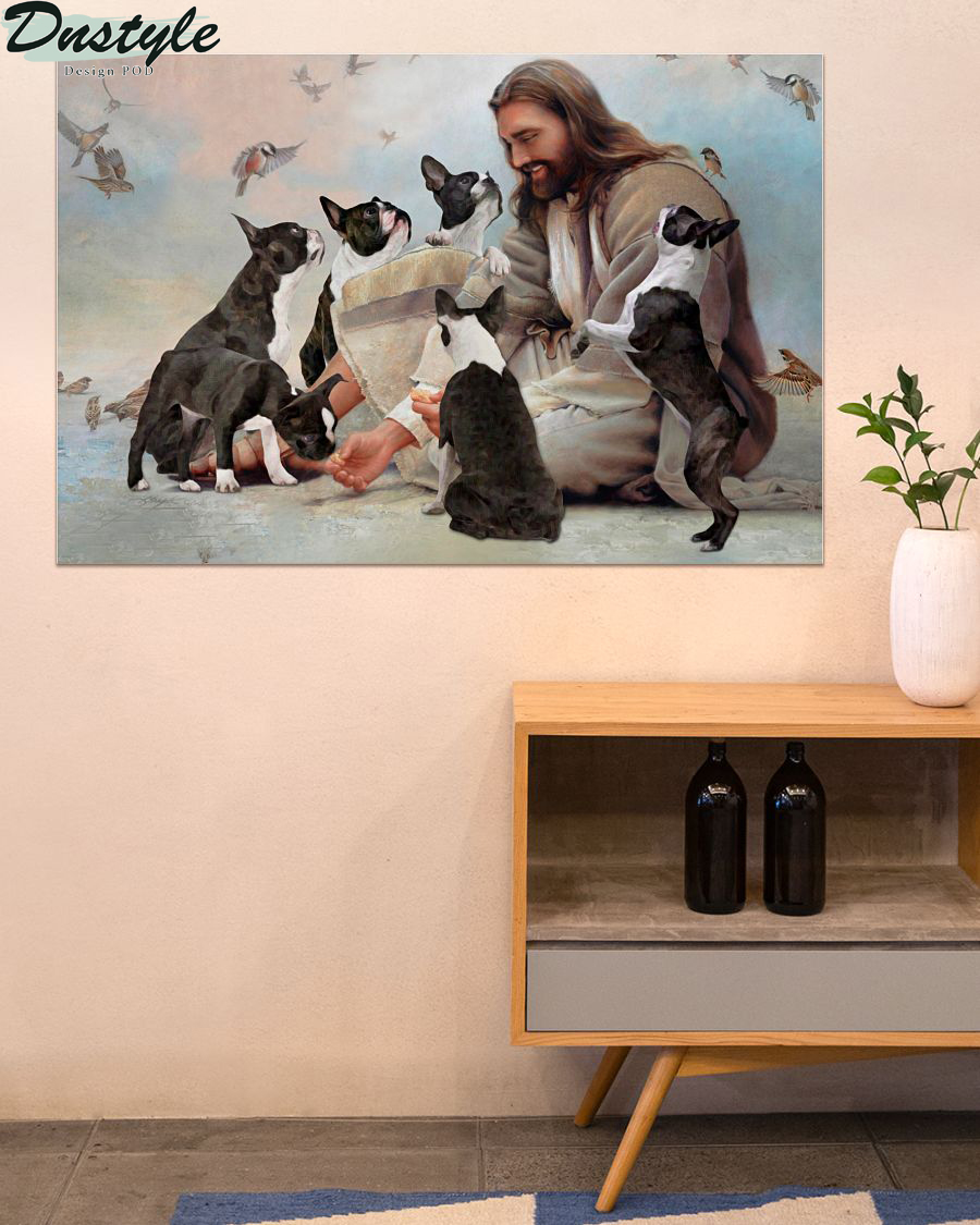 God surrounded by Boston Terrier angels poster 2