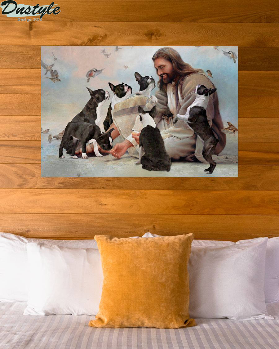 God surrounded by Boston Terrier angels poster 3