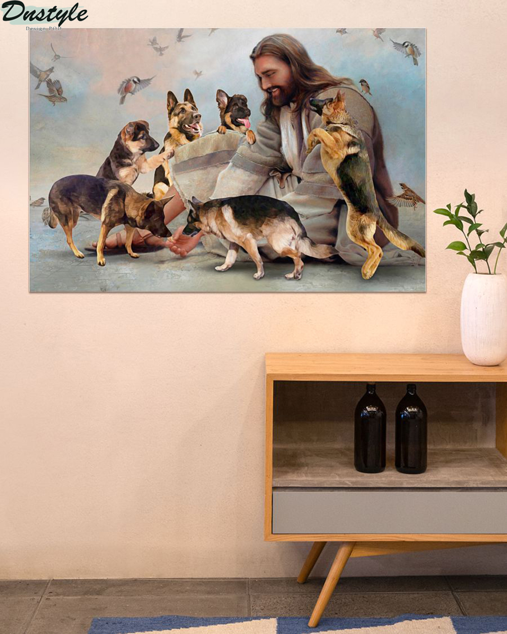 God surrounded by German Shepherd angel poster A1