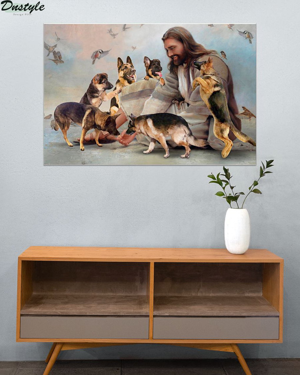 God surrounded by German Shepherd angel poster A2
